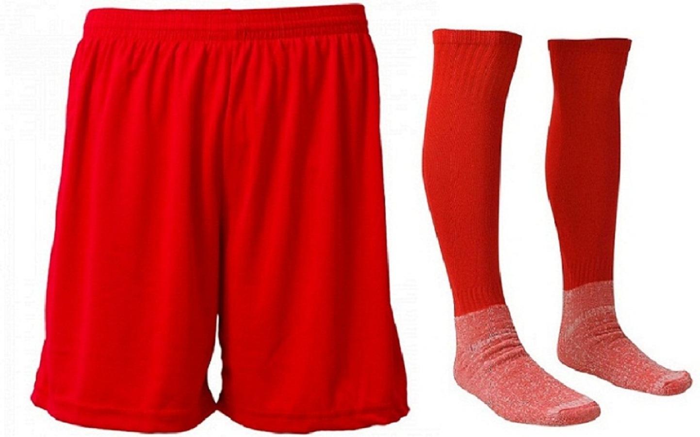 3279f6006d Kit-Calção e Meião de Futebol Liso Vermelho
