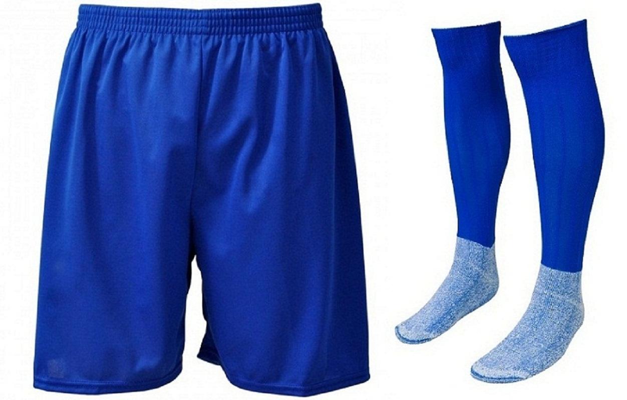 6fcb947171 Kit-Calção e Meião de Futebol Liso Azul